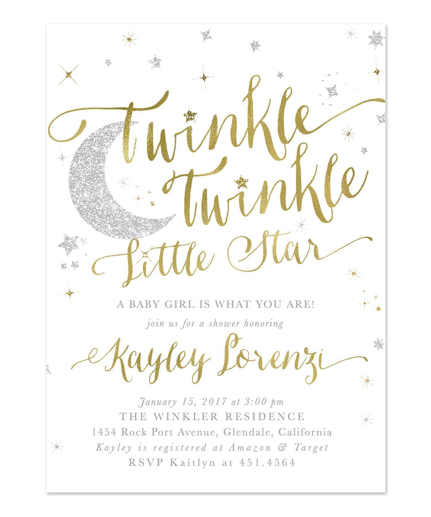 Twinkle Twinkle Little Star Boy or Girl Baby Shower Invitation