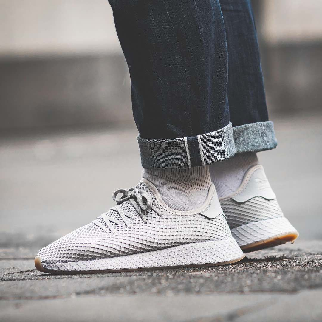 ADIDAS ORIGINALS DEERUPT Runner Trainers in Triple White adidas Originals street