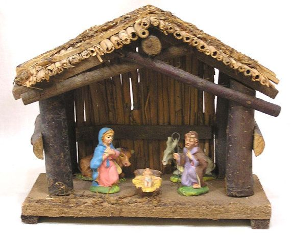 Vintage Nativity Set Table Top Made In Italy Compo Figures 1960s