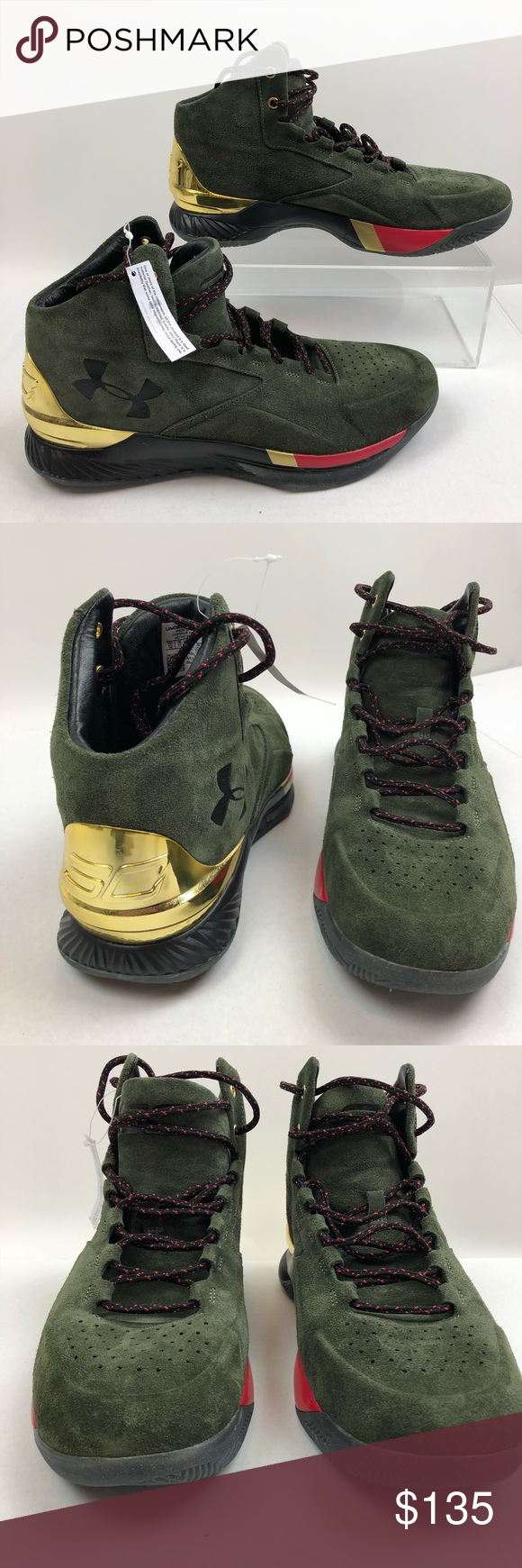 1cb3287cf0c5 Under Armour Curry 1 Lux Mid Suede Basketball 12 Under Armour Curry 1 Lux  Mid Suede 1296617-330 Metallic Gold Basketball Shoes Men s Size 12 UA CURRY  1 LUX ...