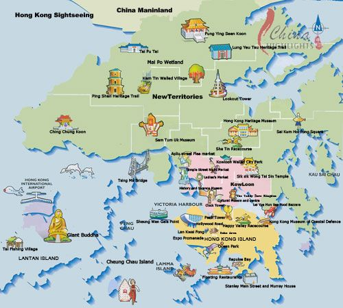 cool Map of Hong Kong Tourist Travelquaz Pinterest