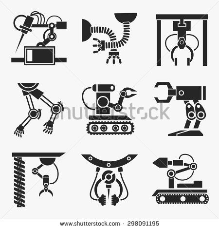 Industrial robot set Equipment robotic arm, production mechanic - new robot blueprint vector art