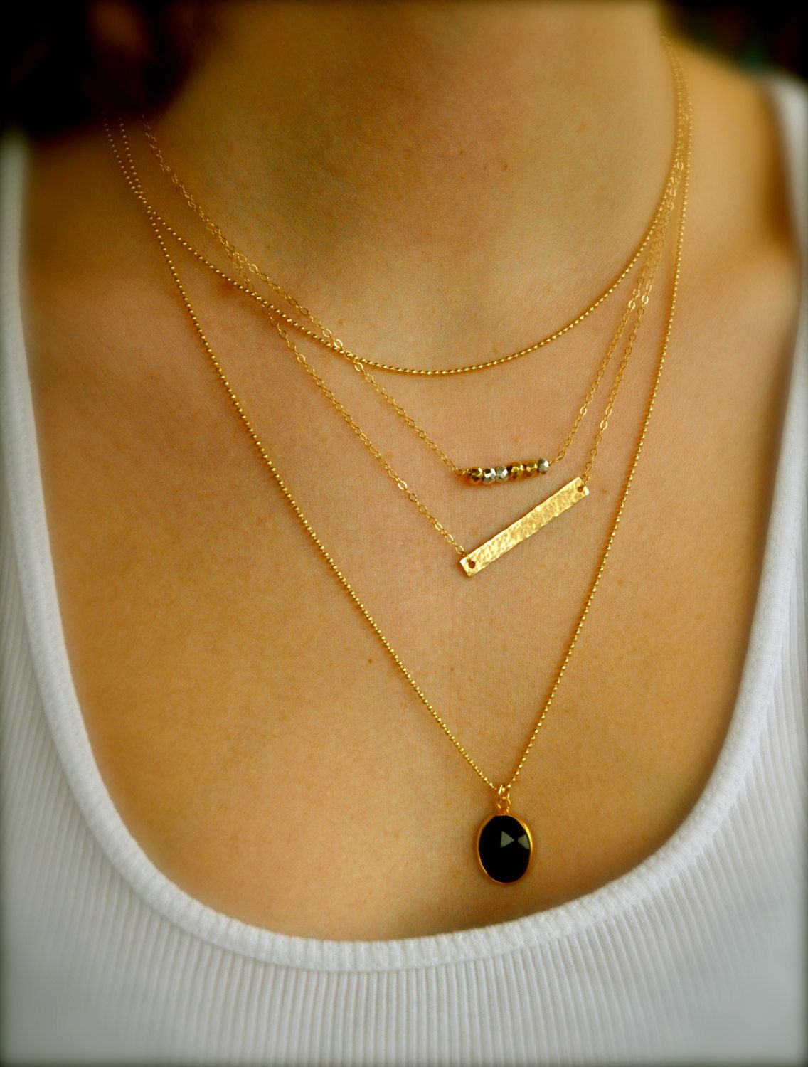 Necklace layering gold layering necklaces k gold fill set of