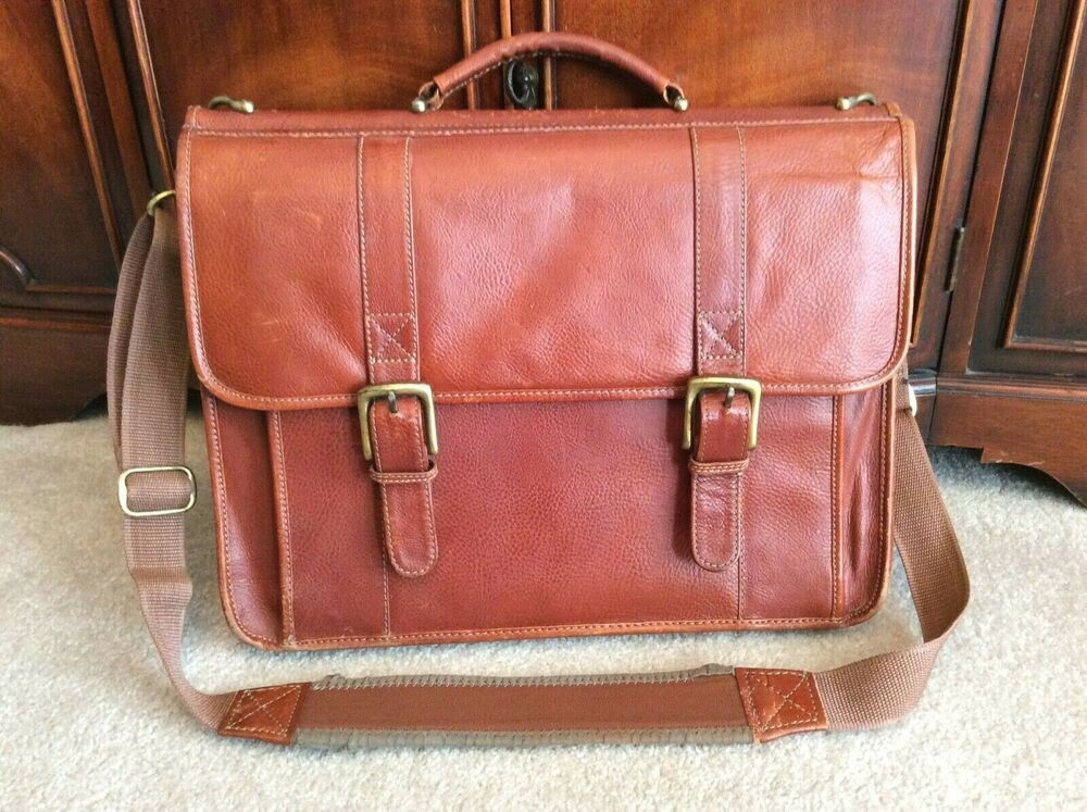 Wilson's Leather Brown Distressed Flap Messenger Briefcase