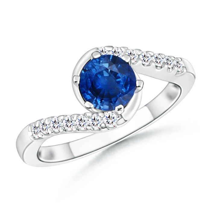 Angara Prong Set Round Sapphire Curved Shank Twisted Ring in White Gold Tb0ojVxfV