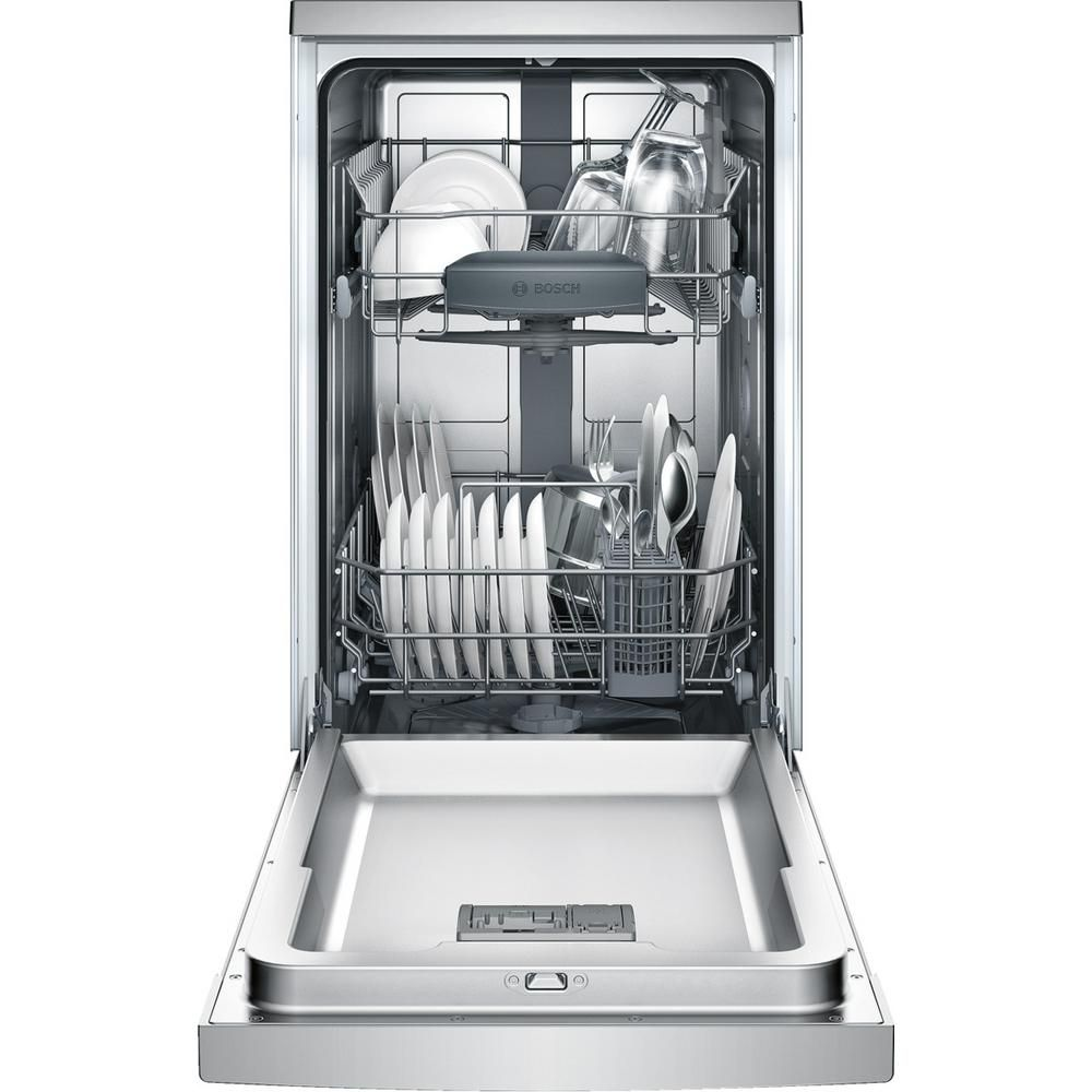 Bosch 300 Series 18 In Ada Compact Front Control Dishwasher In Stainless Steel With Stainless Steel Tub 46dba Spe53u55uc The Home Depot In 2020 Built In Dishwasher Built In Dishwashers Steel Tub