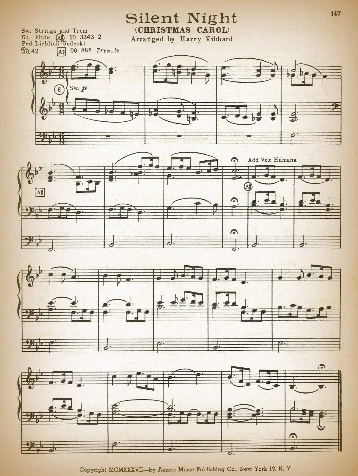 Printable Antique Christmas Sheet Music