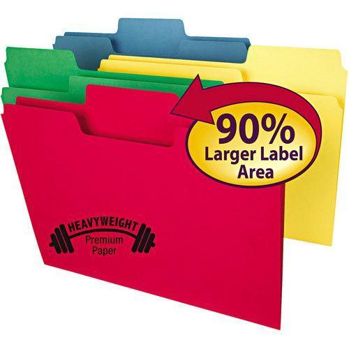 "Supertab Heavyweight Folder, 1/3 Tab, 3/4"" Exp., Letter, Assorted, 50/bx"