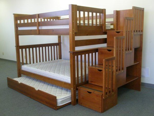 twin over full bunk bed plans with stairs furniture i want pinterest. Black Bedroom Furniture Sets. Home Design Ideas
