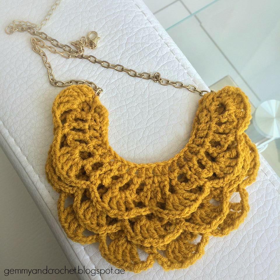 Free Pattern Crochet Bib Necklace Halsschmuck Pinterest