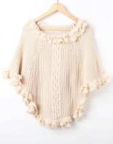Apricot Batwing Ruffles Cape Pullovers Sweater $46.48  #SheInside #hipster #love #cute #fashion #style #vintage #repin #follow