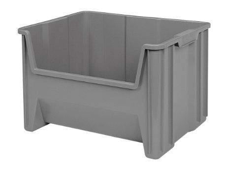 Akro Mils 13017 Stak N Store Stacking Hopper Front Plastic Storage Bin Grey Plastic Storage Bins Plastic Container Storage Stacking Bins