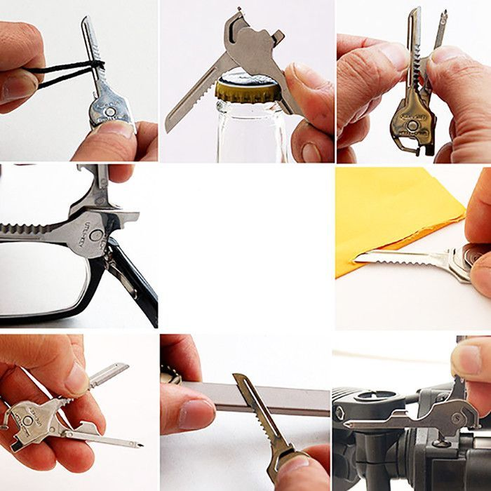 6 in 1 Stainless Steel Mini Camping Tool