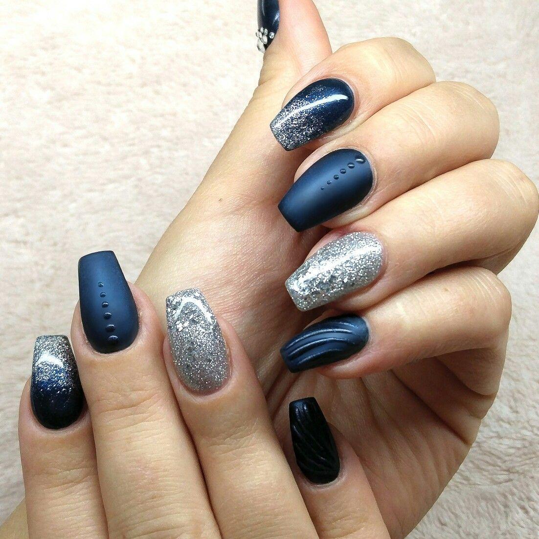 Enchanting Dark Blue Coffin Nails Gift - Nail Polish Ideas ...