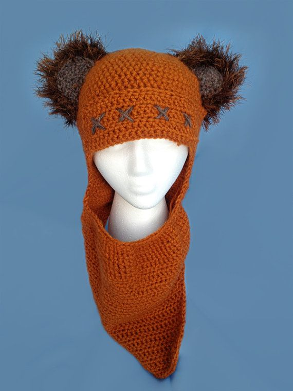 3d088533c97 Crochet Adult Ewok Hat and Cowl by ClassikellyDesigns on Etsy