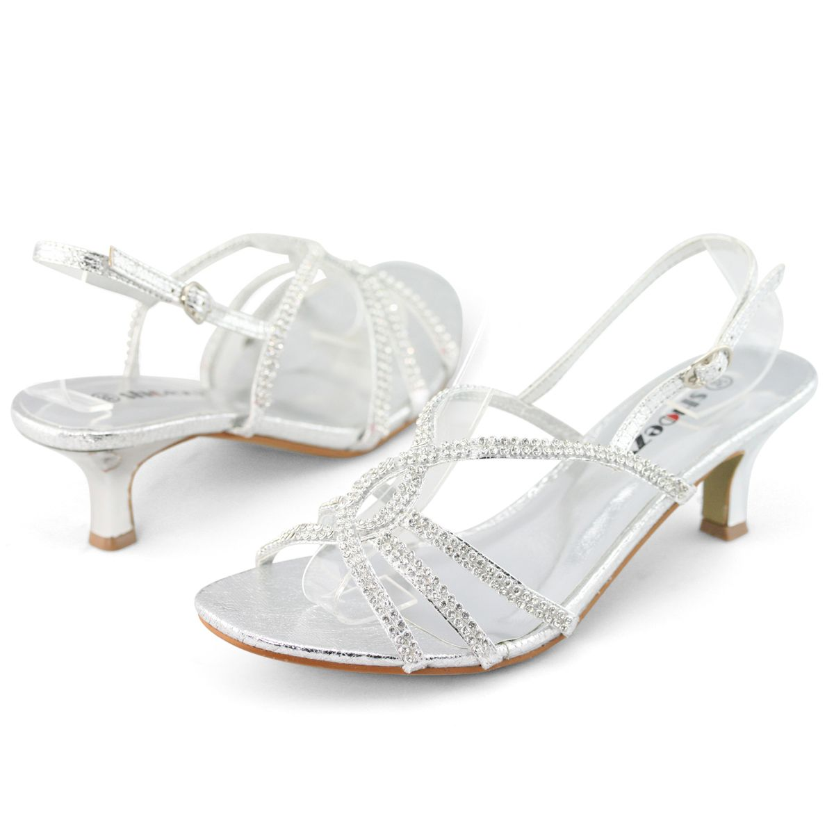 silver strap heels | ... Silver Strappy Diamante Wedding Prom ...