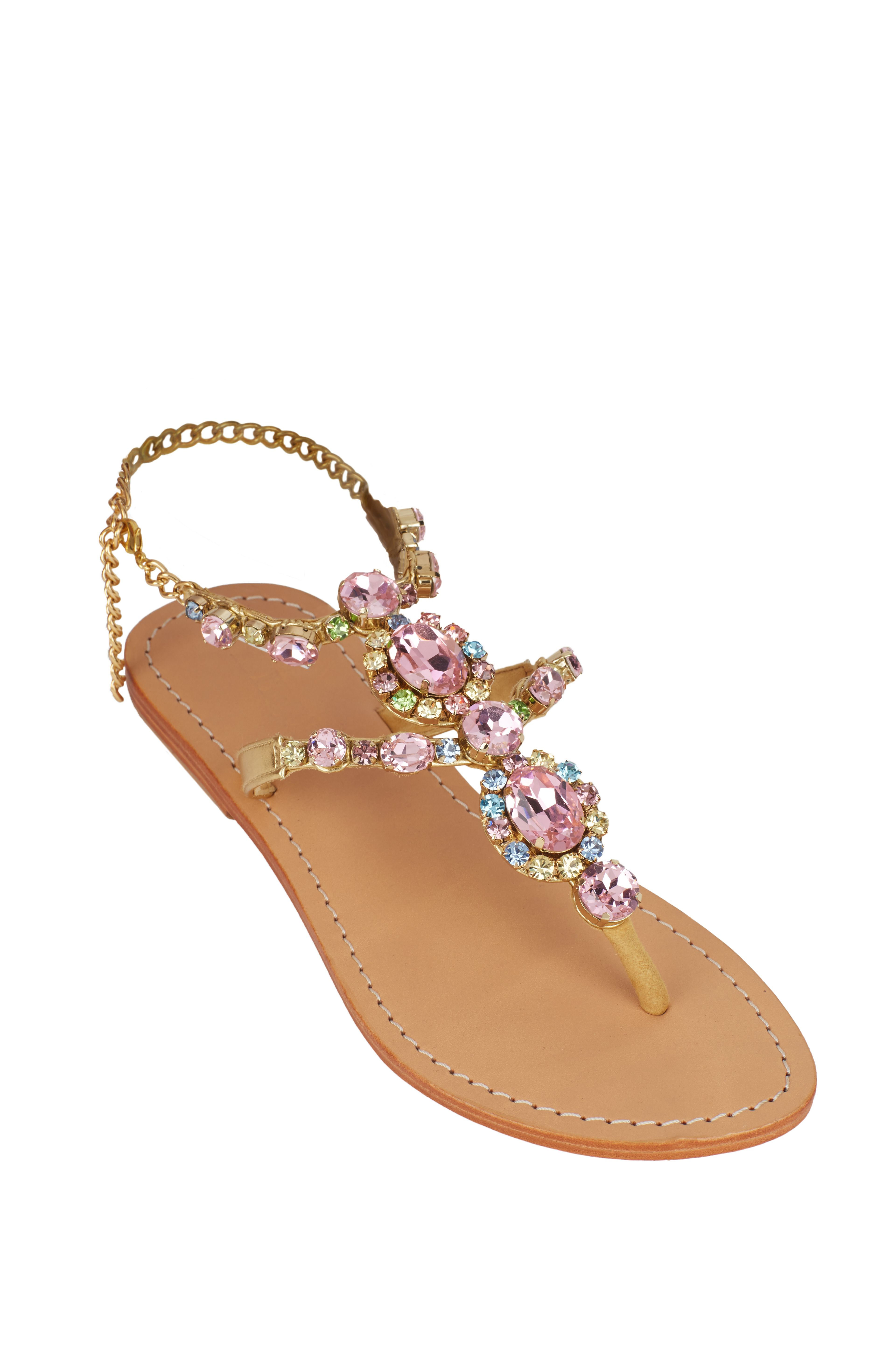 Mystique Rose jeweled flat sandals https