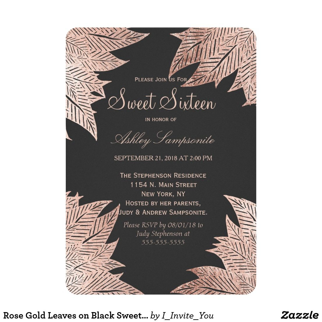 rose gold leaves on black sweet 16 invitations in 2018 birthday