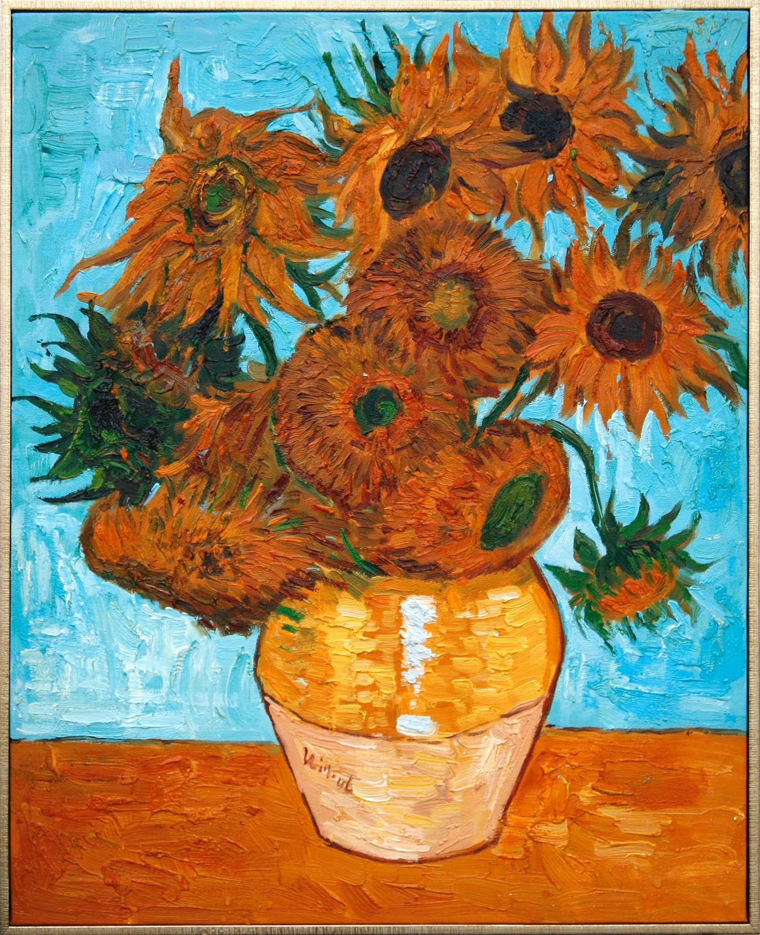 1888 Impressionist Print Poster 24x32 Vincent van Gogh Sunflowers on Blue