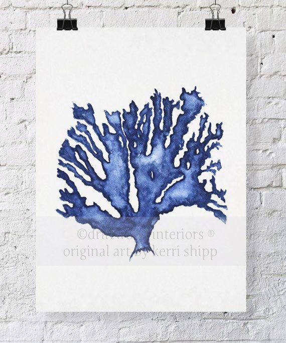 Sea Coral In Denim Watercolor Print 11x14 Blue Coral Print Coral