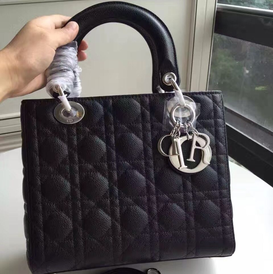 e1461cc364 Dior Lady Dior Medium Bag In Caviar Calfskin Black (Silver Hardware ...