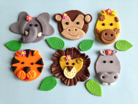 Girly Jungle Animal Cupcake Toppers One Dozen | Animal ...