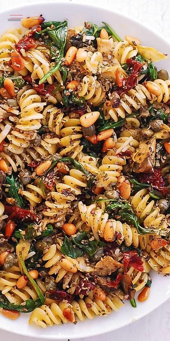 Italian Pasta with Spinach, Artichokes, Sun-Dried Tomatoes, Capers, Garlic, and Pine Nuts - Hannah