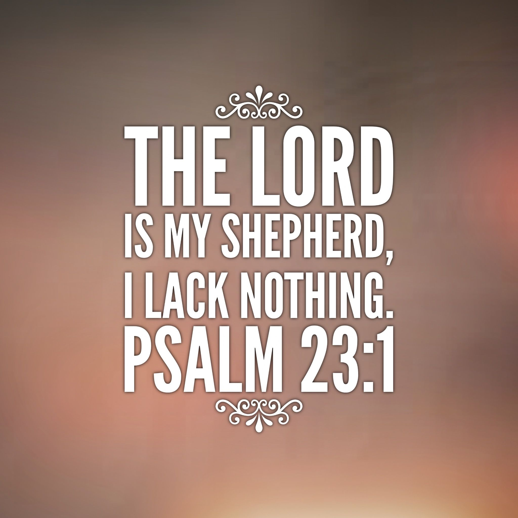 The LORD is my shepherd, I lack nothing. Psalm 23:1
