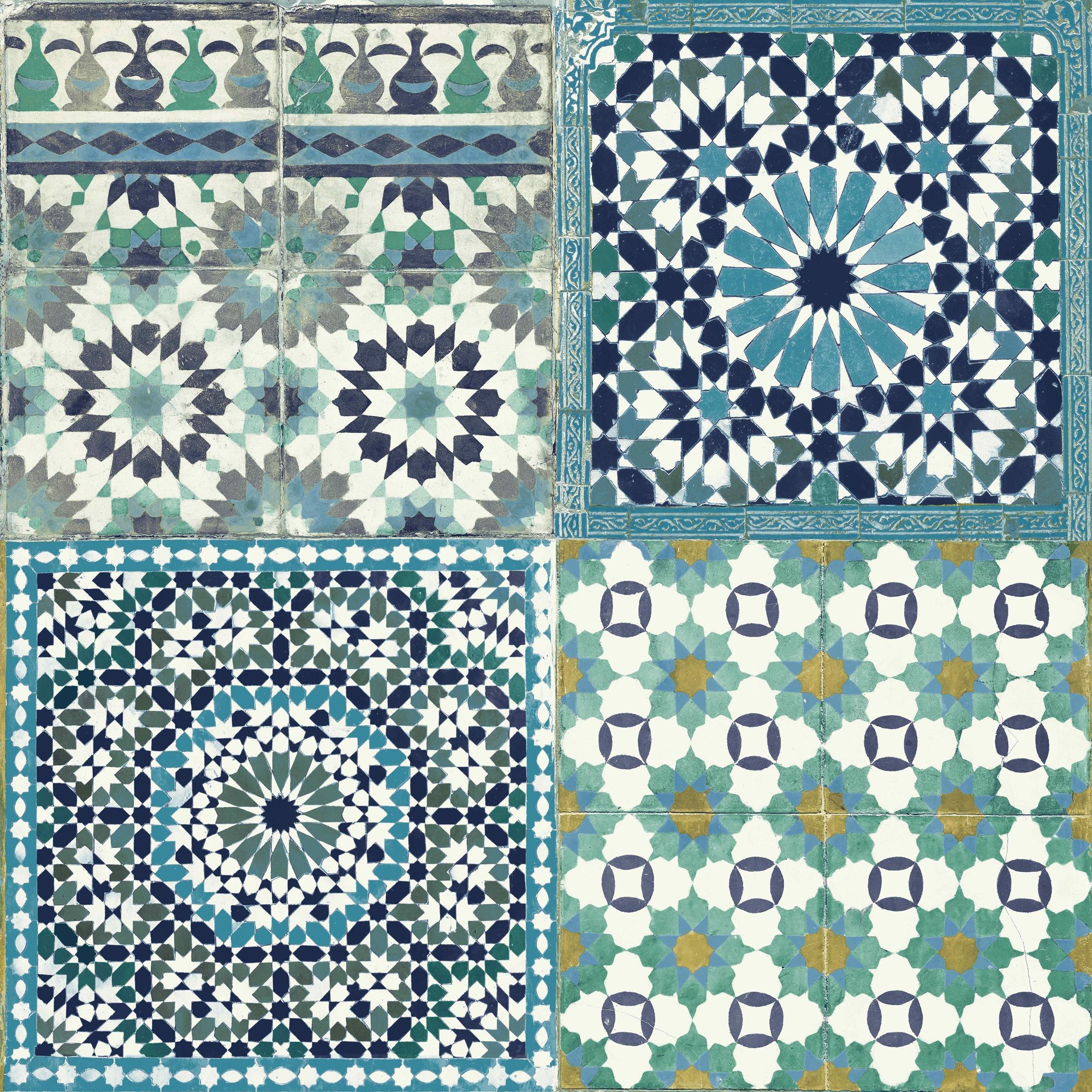Grandeco sapphira blue mosaic tile wallpaper blue mosaic Mosaic tile wall designs