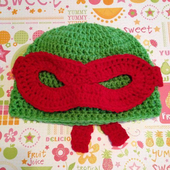 Teenage Mutant Ninja Turtles TMNT Crochet Hat with Mask, Made To ...