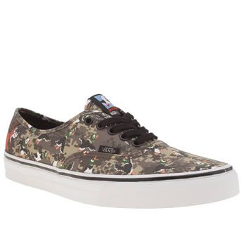 Vans Khaki Authentic Nintendo Duck Hunt Mens The legendary 80s game created for the NES is brought to present day, as Vans join forces with Nintendo. Duck Hunt graphics adorn a khaki pixelated camo printed fabric upper on the Authentic profile,  http://www.MightGet.com/january-2017-13/vans-khaki-authentic-nintendo-duck-hunt-mens.asp