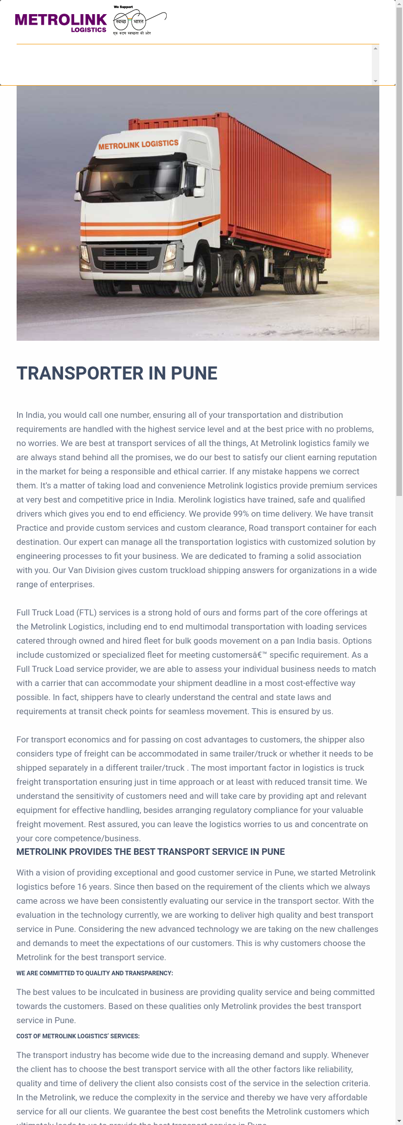 Best Transporter In Pune Transport Services In Pune All
