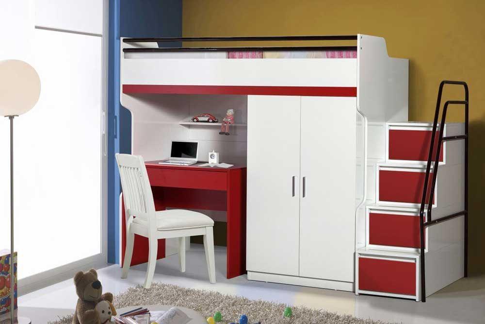 Bueno Red: Bunk Bed, 2 door under bunk bed wardrobe ...