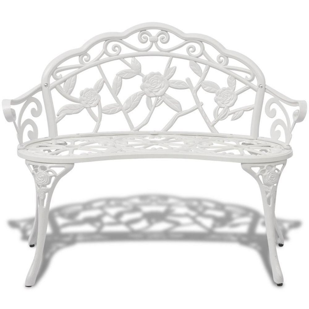 white iron outdoor furniture.  Outdoor White Ornate Metal Garden Bench 2 Seater Outdoor Furniture Patio Companion  Chair To Iron