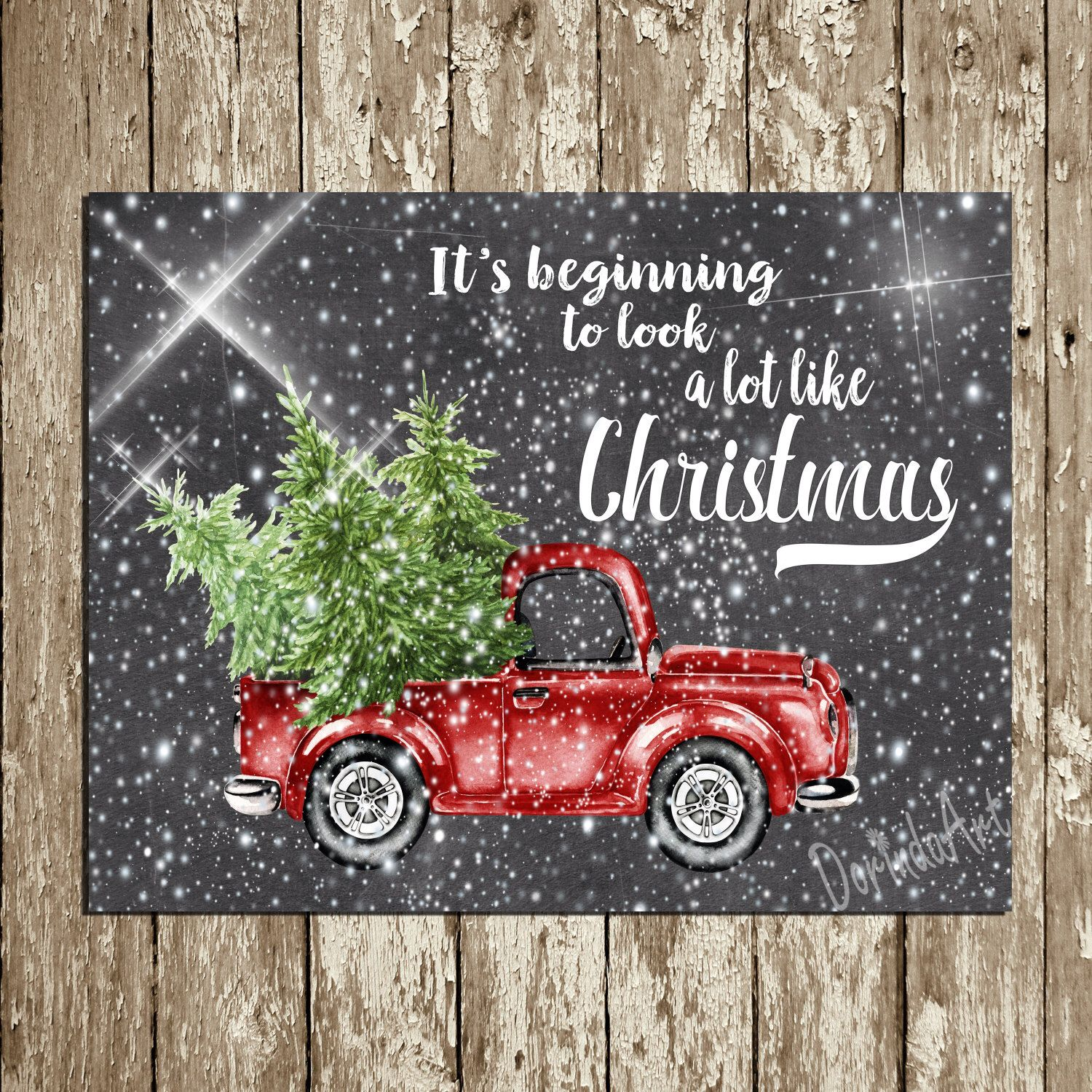Christmas Printable Wall Decor Red Truck Chalkboard Christmas Print Tree Chrismas Decor Wall Art Christmas Red Truck Christmas Chalkboard Chrismas Decorations