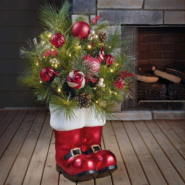Holiday Gift Ideas Pinwire 36 Santa Boots Holiday Arrangement In 2018 Christmas Decor 5 Mins Holiday Arrangement Christmas Light Ornament Holiday Decor