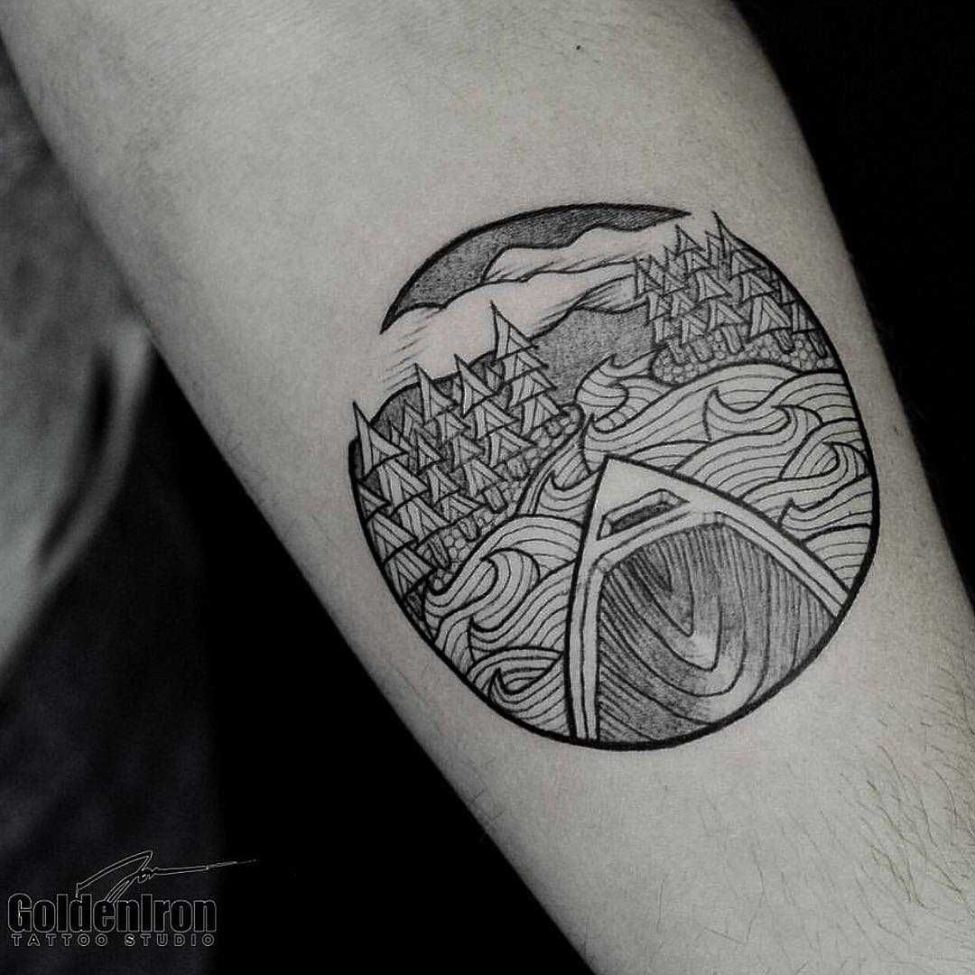 Canoe And Landscape Tattoo On The Left Forearm By Jon J Mo Landscape Tattoo Tattoos Wilderness Tattoo
