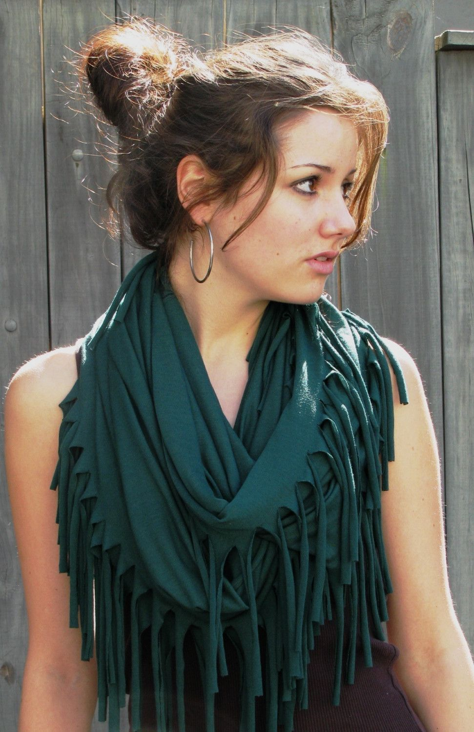FRINGED Cotton Infinity/Eternity SCARF EverGreen Teal