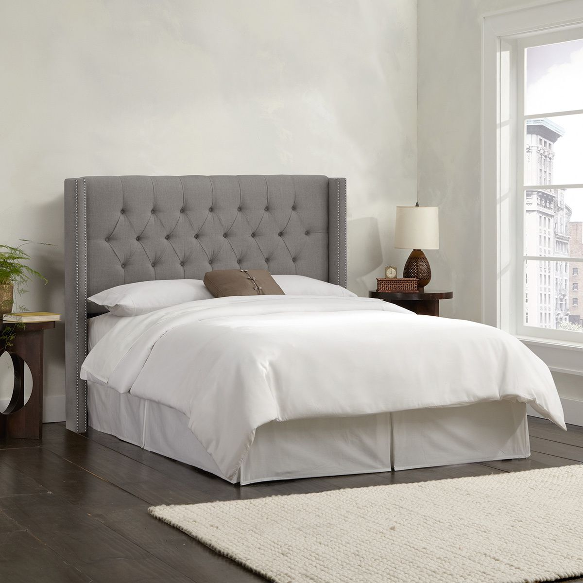 Dress up your bed with this Linen grey diamond tufted wingback ...