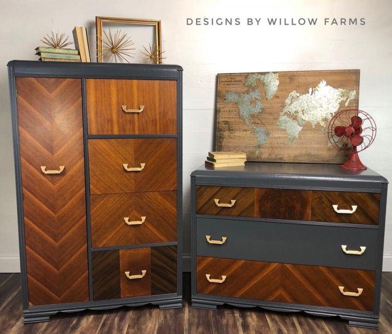 1920 S Waterfall Bedroom Set In Queenstown Gray Wood Bedroom Furniture Art Deco Bedroom Furniture Bedroom Set