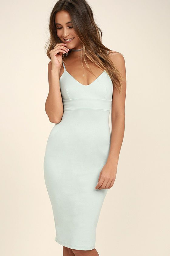 a2ba9f2f2431 Don t Tell  Em Light Blue Bodycon Midi Dress
