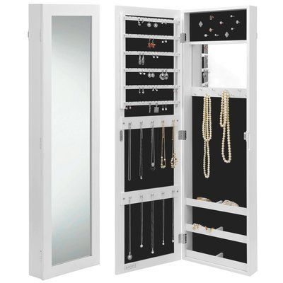 Rebrilliant Wall Mounted Jewelry Armoire With Mirror