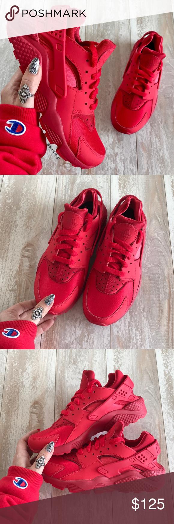 NWTNike ID Custom Triple Red Huarache Run! | Red huaraches, Nike ...