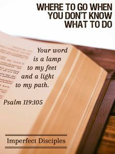Where to go when you don't know what to do. Psalm 119:105