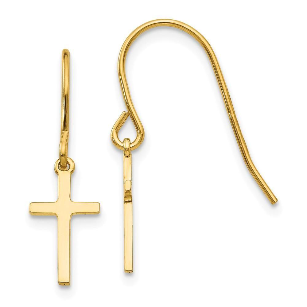 14k Yellow Gold Shepherd Hook Dangle Earrings