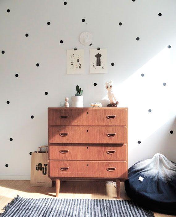 black and white polka dots wall #polkadots #poás #parede #decor