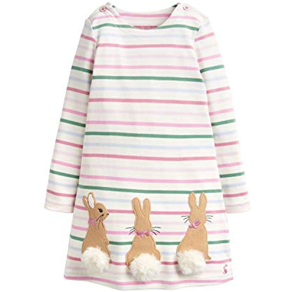 newest 2a606 8cd6c Tom Joule Mädchen Kleid mit bunten Streifen und Peter Rabbit ...