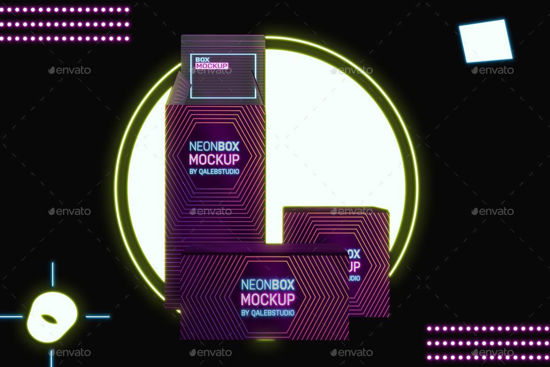 Download Neon Boxes Mockup In 2020 Box Mockup Neon Box Mockup