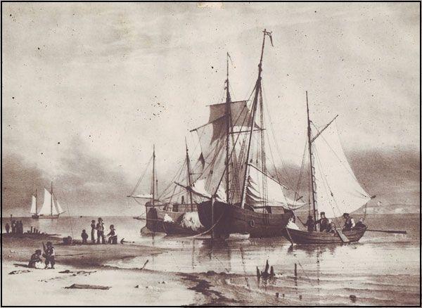 """Kolvig overtager færgeriet C. F. Sørensen, """"Færgebåde på stranden ved Nordby"""", 1852"""