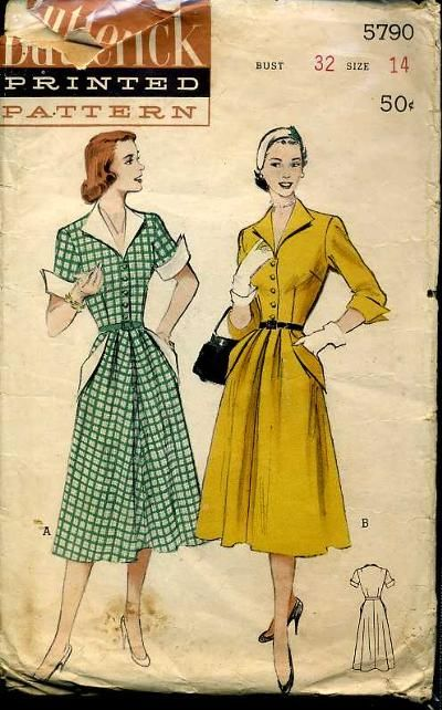 Butterick 5790  early 1950s  Casual One-Piece Dress  Winged Accents ... 42da2674ac58